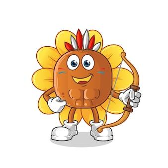 Personagem da tribo nativa americana da flor do sol