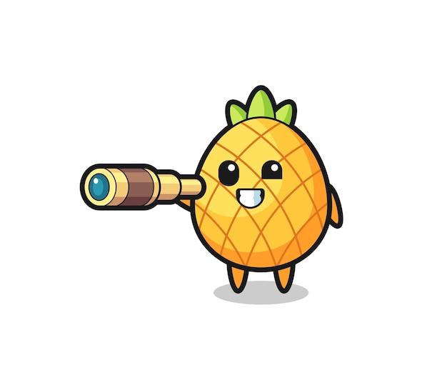 Personagem de abacaxi fofa está segurando um telescópio antigo, design de estilo fofo para camiseta, adesivo, elemento de logotipo
