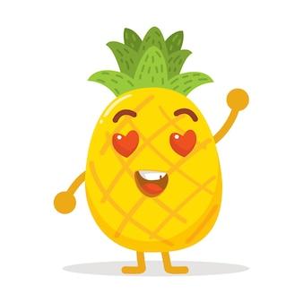 Personagem de abacaxi fofo em pose de amor