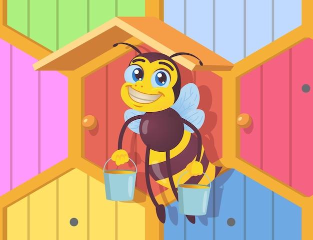 Personagem de abelha feliz segurando baldes de mel. inseto preto e amarelo com asas carregando um néctar delicioso na frente da ilustração de desenho de uma colmeia de madeira