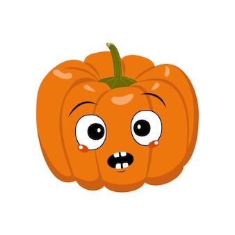 Personagem de abóbora bonita com pânico de emoções, rosto surpreso, olhos chocados. decoração festiva para o halloween. herói vegetal travesso