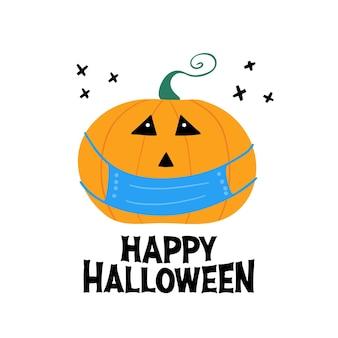 Personagem de abóbora com máscara médica azul com letras de feliz dia das bruxas e cruzes pretas de doodle