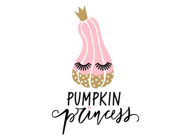Personagem de abóbora de vetor de halloween bonito com cílios. citação de rotulação de princesa abóbora.