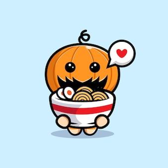 Personagem de abóbora fofa adora ilustração de desenho animado com macarrão ramen