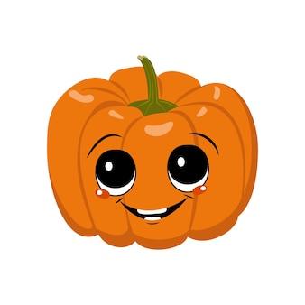 Personagem de abóbora fofa com emoções de alegria, rosto, olhos grandes e sorriso largo e feliz. decoração festiva para o halloween. herói vegetal travesso