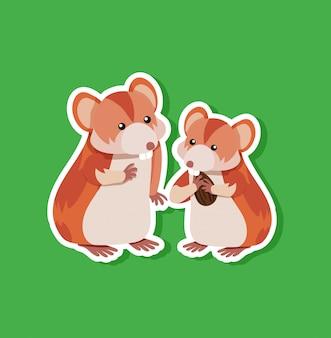 Personagem de adesivo de hamster fofo