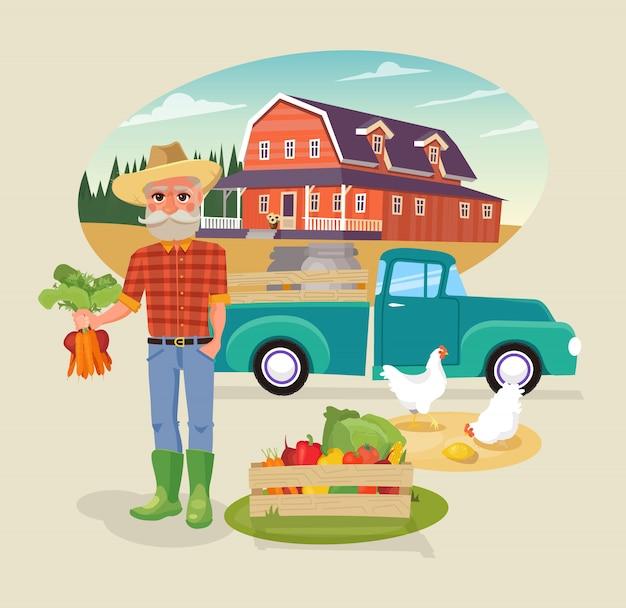 Personagem de agricultor com bando de legumes frescos.