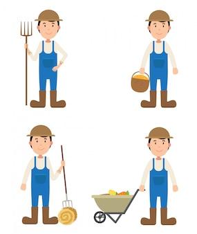 Personagem de agricultor, ilustração isolada.