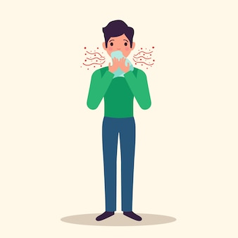 Personagem de alergia espirros conceito com sintomas, ilustração vetorial plana