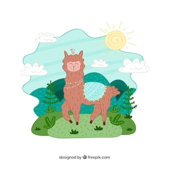 Personagem de alpaca linda mão desenhada