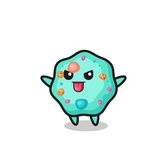 Personagem de ameba travessa em pose de zombaria, design de estilo fofo para camiseta, adesivo, elemento de logotipo
