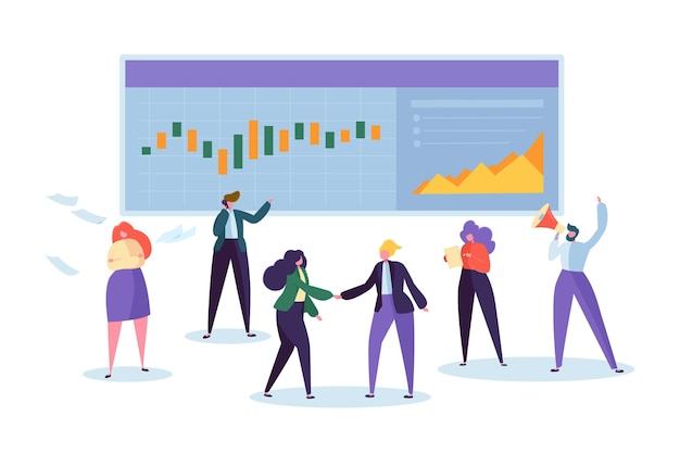 Personagem de análise de gráfico de ações de comércio online.