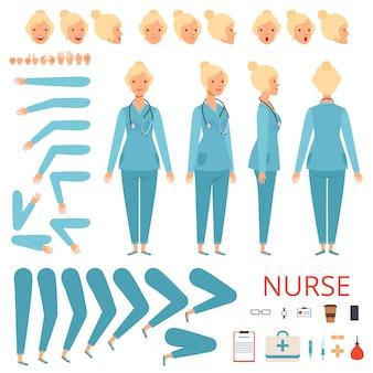 Personagem de animação de enfermeira. peças de corpo médico feminino hospital e kit de criação de mascote de itens profissionais
