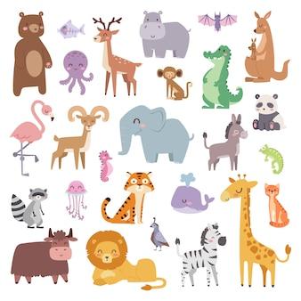 Personagem de animais dos desenhos animados e coleções de animais fofos de desenhos animados selvagens