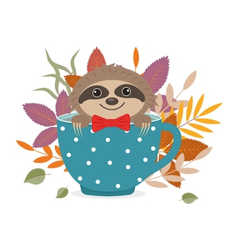 Personagem de animal bonito, preguiça está sentado em uma xícara no contexto das folhas de outono.
