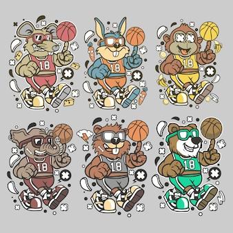 Personagem de animal de basquete