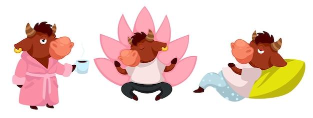 Personagem de animal engraçada vestindo manto segurando a xícara de café da manhã. personagem de touro fazendo ioga e meditando. boi deitado no travesseiro e relaxando em casa. autocolante com o símbolo 2021. vetor em estilo simples