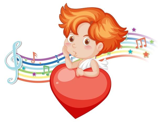 Personagem de anjo cupido com símbolos de melodia no arco-íris