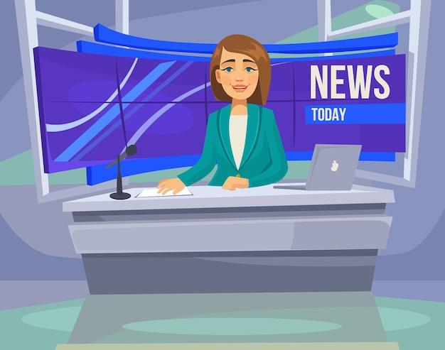 Personagem de apresentadora na tv. notícias de última hora.