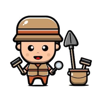 Personagem de arqueólogo fofo