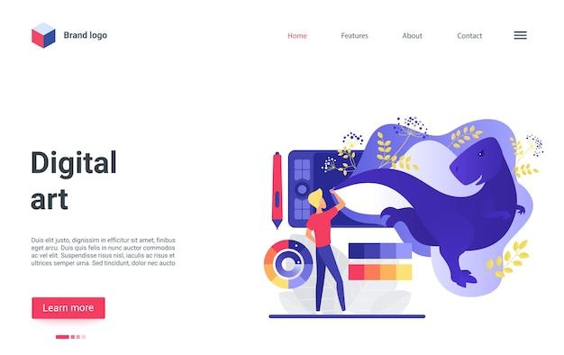 Personagem de artista da página de destino de arte digital criando página de destino de conteúdo gráfico digital