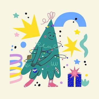 Personagem de árvore de natal decorada engraçada com rosto, pernas de mãos. mão-extraídas pinheiro de vetor mostrando emoções. impressão de natal e ano novo para carros, camisetas, cartazes de saudação. árvore de natal de desenho animado dançando
