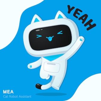 Personagem de assistente de robô de gato bonito em ilustrações de ação alegre