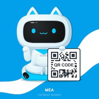 Personagem de assistente de robô de gato bonito ou maneki neko no japão pedindo dinheiro com ilustrações de código qr