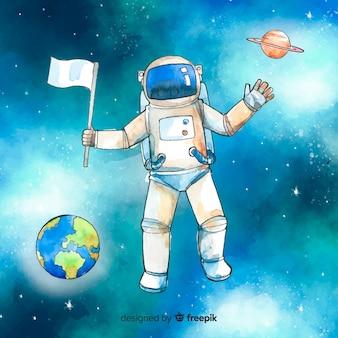 Personagem de astronauta em aquarela no espaço