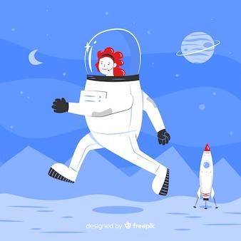 Personagem de astronauta feminina com design plano