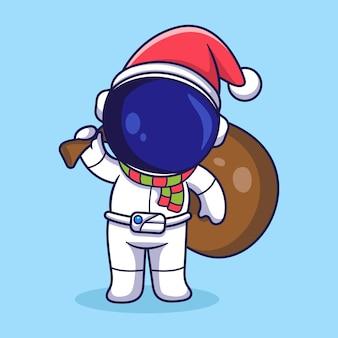 Personagem de astronauta fofo e saco de presente de natal. ilustração plana dos desenhos animados.
