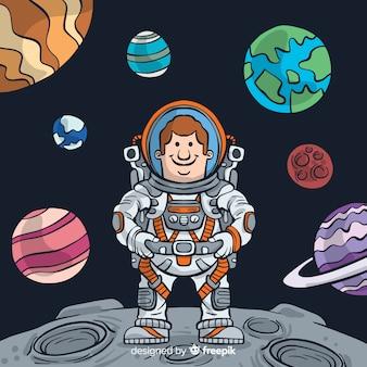 Personagem de astronauta linda mão desenhada
