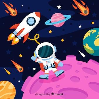 Personagem de astronauta moderna com design plano