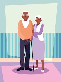Personagem de avatar afro bonito casal velho