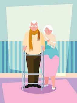 Personagem de avatar bonito casal velho