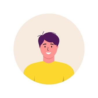 Personagem de avatar da moda do ícone de homens. ilustração em vetor plana pessoas alegres e felizes. quadro redondo. retratos masculinos, grupo, equipe. rapazes adoráveis isolados em fundo branco