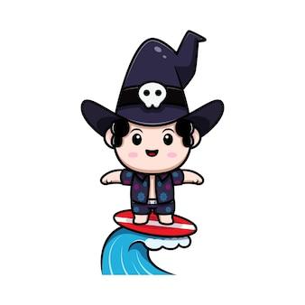 Personagem de avatar de conto de fadas do feiticeiro bonito surfando. ilustração dos desenhos animados