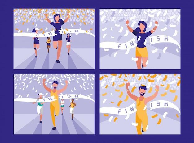 Personagem de avatar de corrida de atletismo de pessoas