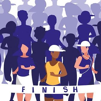 Personagem de avatar de corrida de atletismo feminino