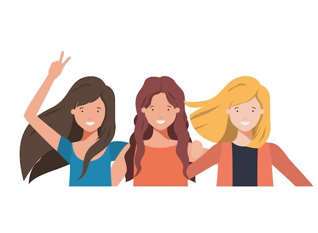 Personagem de avatar de mulheres jovens