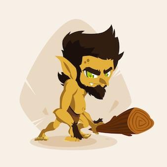 Personagem de avatar do homem das cavernas feio conto de fadas