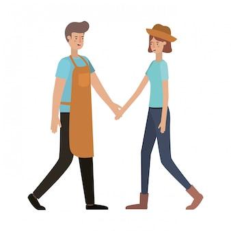 Personagem de avatar jovem casal