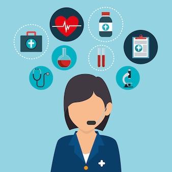 Personagem de avatar profissional de saúde