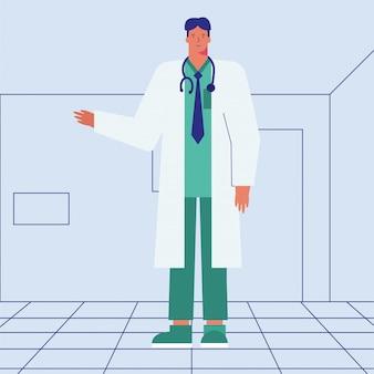 Personagem de avatar profissional médico trabalhador