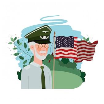 Personagem de avatar veterano guerra homem velho