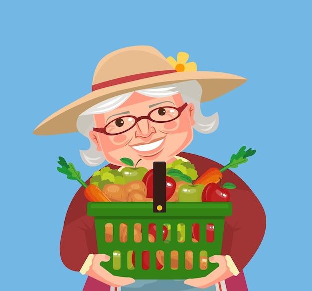 Personagem de avó agricultora segurar cesta com legumes.