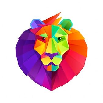 Personagem de baixo poli cabeça arco-íris leão.