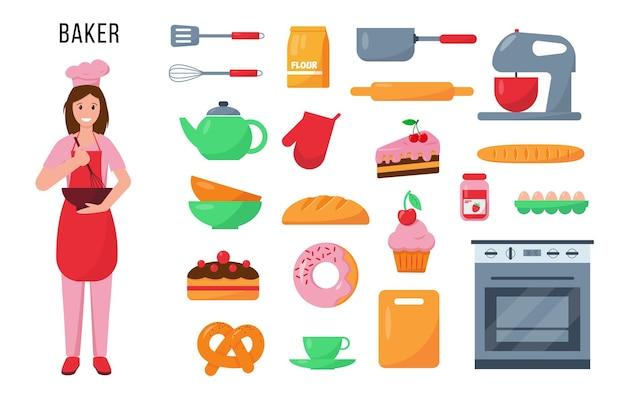 Personagem de baker e conjunto de utensílios de cozinha e produtos para seu trabalho.