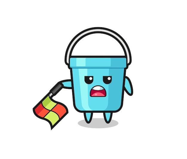 Personagem de balde de plástico como juiz de linha segura a bandeira em um ângulo de 45 graus, design de estilo fofo para camiseta, adesivo, elemento de logotipo