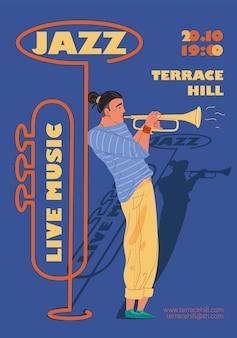 Personagem de banda de música, jazz, rock, blues conceito online de web de cartaz de banner elegante.